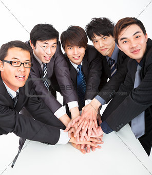 business team with hand together on the table