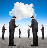 cooperation business and cloud computing concept