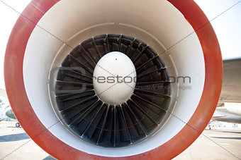 close up of aircraft jet engine in Airport
