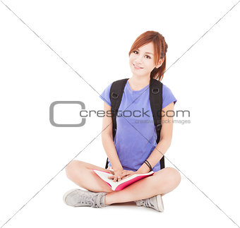 beautiful student asian girl reading book and sitting on floor