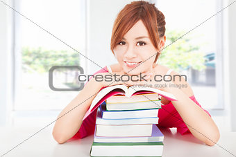 beautiful student  girl with books