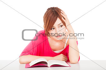 young student Do not concentrate and thinking