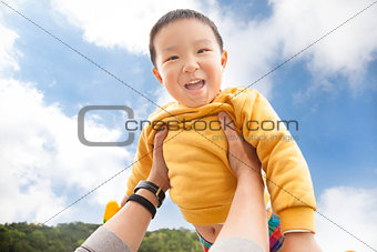 happy asian kid with cloud background