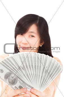 smiling woman holding the money