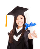 smiling Graduate woman Holding Degree Isolated On white Backgrou