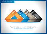 Paper ship origami infographics