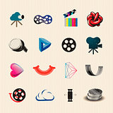 Colorful movie icons set, vector Eps10 illustration.