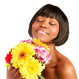 Black girl enjoy flowers