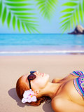 Cute girl on tropical resort