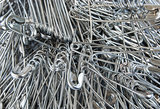 Safety pins pile closeup