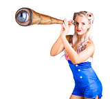 Female sailor with telescope