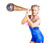Female sailor with telescope