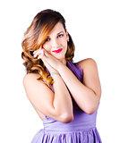 Beautiful woman in purple dress