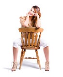 Woman posing on chair