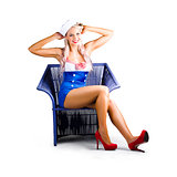 Isolated navy pinup girl on white background