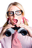 Surprised Nerd Looking To Future With Binoculars