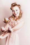 Elegant Smiling Vintage Woman Holding Flower Bunch
