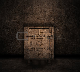 Grunge interior with safe
