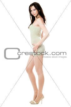 Sexy woman posing in classic dress