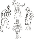 animal mascots - rabbit, ape, boar