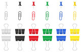 color office paper clip and pushpin vector illustration