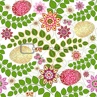 Easter seamless floral pattern