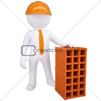 3d white man with a brick