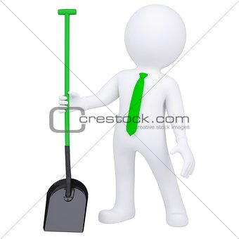 3d white man standing and holding a shovel