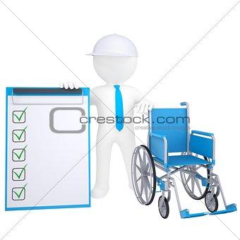 3d white man holding a wheelchair