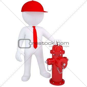 3d white man next to a fire hydrant