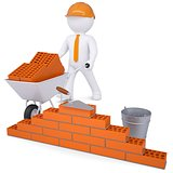 3d white man in a helmet builds a wall