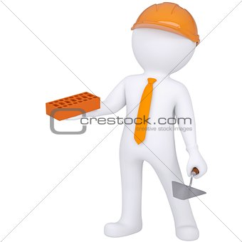 3d white man in helmet holding brick and trowel