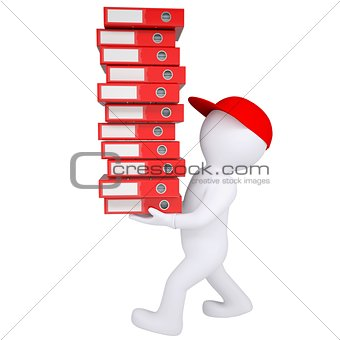 3d white man carries stack of office folders