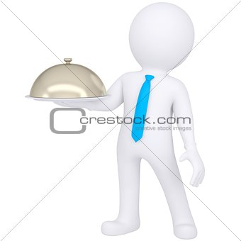 3d white man holding a bowl in his hand