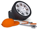 Car wheel and tools