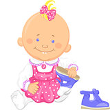 Vector cute baby girl learns to put on one's shoes