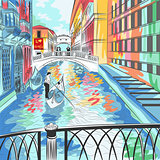 vector landscape the Bridge of Sighs in Venice