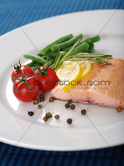 Cooked salmon dinner