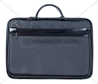 Black leather business case isolated on white