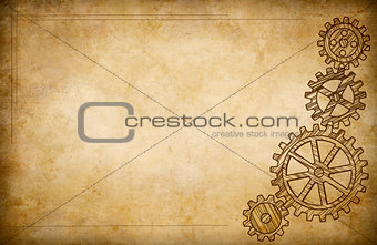 Grunge gears and cogs drawing background