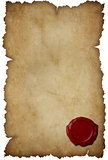 Grunge torn paper with wax seal isolated on white