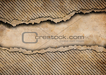 Grunge torn cardboard background with gray stripes