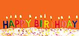 Happy birthday lit candles on orange background