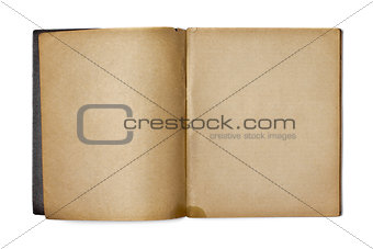 old opened copybook isolated on white