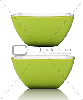 Green square bowl or cup isolated on white with clipping path in