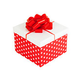 Red gift box isolated on white background with clipping path inc