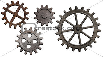 rusty metal gears set isolated on white