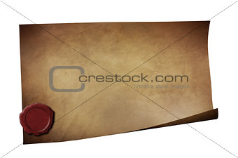 Grunge paper with wax seal isolated on white
