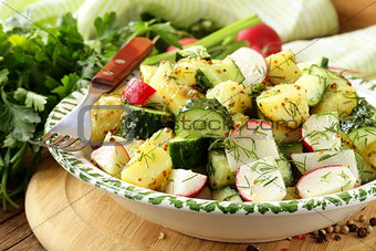 potato salad with cucumber and radish