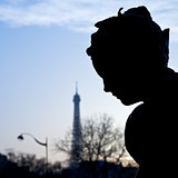 sculpture of Pont Alexandre III and eiffel tower in Paris